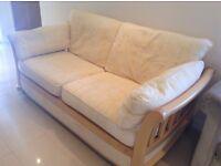 Yellow cotton sofa with beautiful light wood frame
