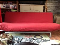 Red fabric futon