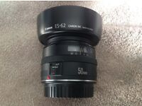 CANON EF 50MM F/1.8 MKI STEEL MOUNT PRIME LENS WITH ORIGINAL HOOD AND BOTH DUST CAPS, EXCELLENT!!