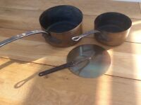 Vintage French copper pans and lid