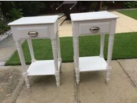 2 white occasional tables 70x40 x35