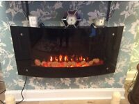 BLYSS - Carolina wall hung, electric, LED lit fire with remote control