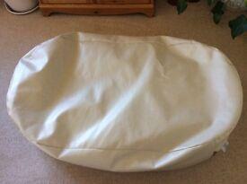 Large cream leather style bean bag