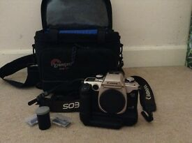 EOS 50 E Film Camera with Battery Grip, 1 Film & Lowepro Bag