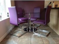 Orbit Glass and Chrome Dining Table - with 4 Perth Purple Chairs