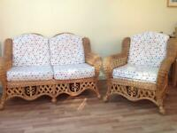 Conservatory Rattan wicker 2 seater sofa and armchair
