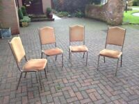 4 metal and gold dralon banqueting chairs