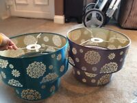 Set of two ceiling lampshades. 2 tier. Teal and grey.