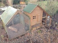 rabbit hutch with covered run