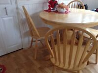 Wooden extending table and four chairs Vgc needs gone asap collect only