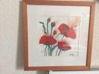 Pine framed poppy print
