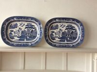 2 China willow pattern meat plates