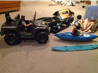 FOR SALE: Actionmen, Jeep, 2x sniffer dogs which growl, canoes, SAS rescue boat, windsurfer board.