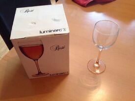 Rose tinted wine glasses x 4