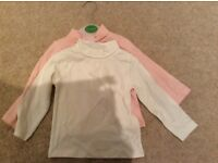 High neck long sleeve tops from John Lewis, 6-9 months