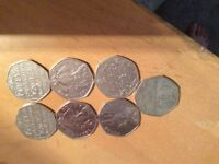 Rare 50p coin collection x7 coins OPEN TO OFFERS