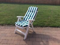 Pair of sturdy reclining resin M&S garden armchairs, & Henley stripe cushions (never used)