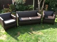 BROWN 2 SEATER AND CHAIRS