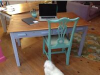 Large wooden vintage desk.Painted and sanded