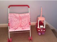 Dolls twin buggy and coupe car