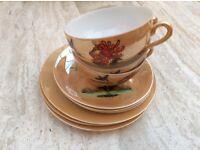 Oriental Set Of Three Luster Wear Cups Saucers & Tea Plates