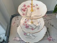 Roslyn Bone China 3 Tier Cake Stand. Pink / Grey Floral.