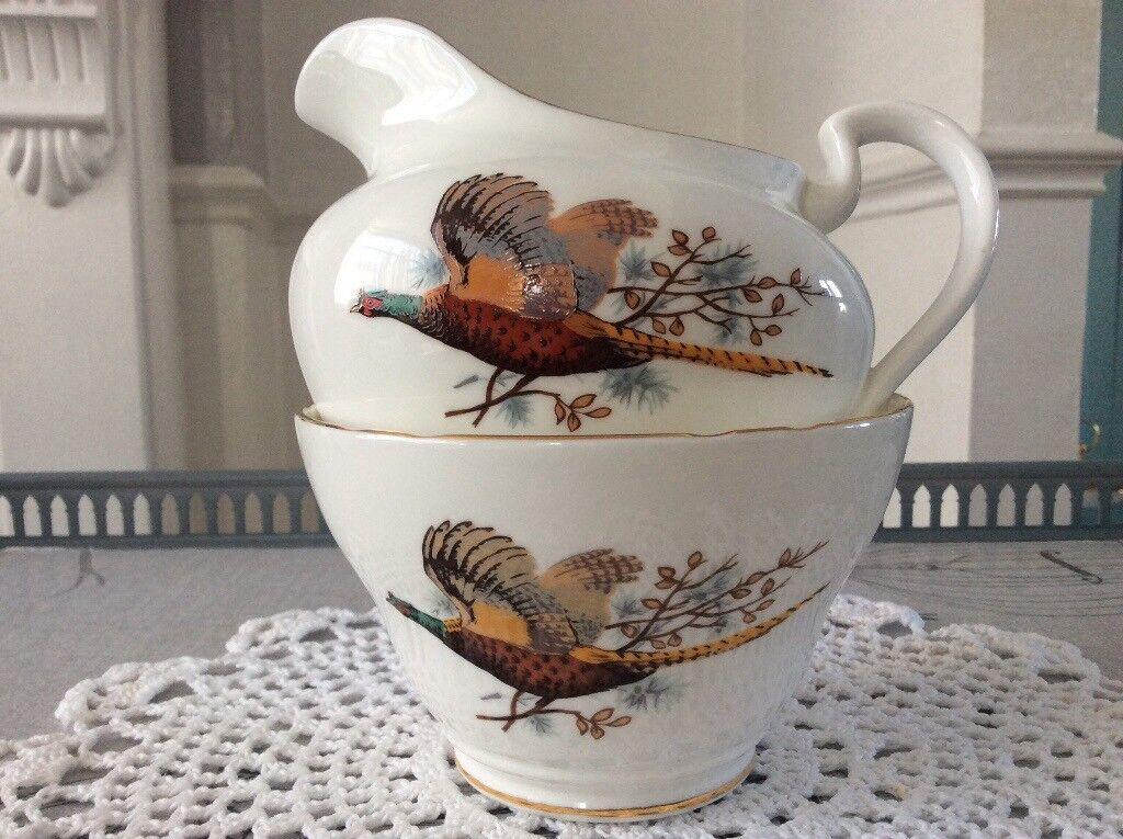 Bone China Milk Jug and Sugar Bowl Pheasant Design.