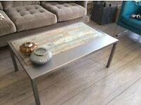 SHABBY CHIC INDUSTRIAL VINTAGE RECLAIMED WOOD AND STEEL HAND MADE COFFEE TABLE