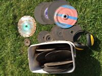 A LOT OF 30+ ANGLE GRINDER BLADES PLUS EAR PROTECTORS