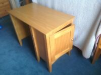 M&S mid-rise pine bed with cupboards, desk and chest of drawers