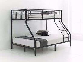 Attractive Design ! Trio Sleeper Metal Bunk Bed Good Deal with Mattress