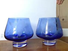 Two Caithness Glass Blue Bowls.
