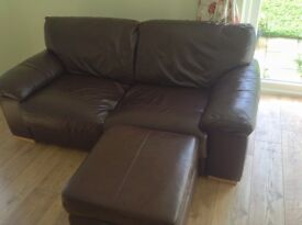Two chocolate brown semi-aniline leather Sofas and footstool £120