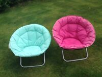 Cushioned moon chairs