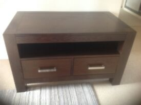 Dark WoodTVs Cabinet with 2 storage draws. Measures 970mm wide x 550mm deep x 575mm high
