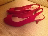 Ladies red sling back sandals