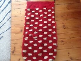 Red and white sheep cosy toes buggy snuggle.