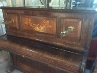 Free piano. Very pretty Hopkinson upright grand piano, with inlay and candelabra