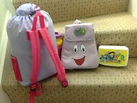Dora the Explorer Sleeping Bag, SingleFitted Sheet, Lunch/Cool Bag(Toys,Lego,PeppaPig,Barbie,Disney)