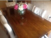 Dining Table - Solid Wood - Comfortable 6 Seater, extends to 10