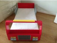 Toddlers Fire Engine bed and mattress, kept at Nana's house. Hardly used