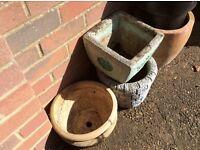 terracotta and concrete garden pots
