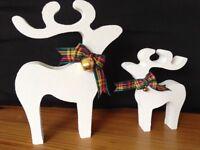 christmas star gazing reindeer decorations mother baby white stipple gold bells red tartan ribbon