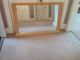 Large solid beech wood mirror