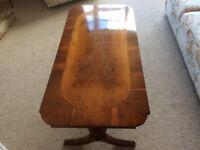 Coffee table yew veneer wood