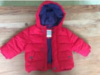 Red quilted style winter coat. Age 6-9 months