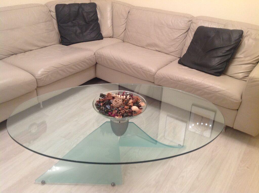 Italian Designer Oval Glass Coffee Table With Curved Legs