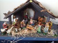 Nativity set. Handmade painted pottery