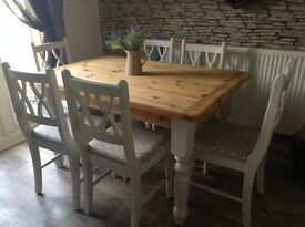 Stunning Chunky Shabby Chic Farmhouse Table and 6 Chairs