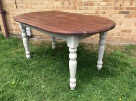 CHUNKY COUNTRY FARMHOUSE SOLID PINE OVAL TWO TONE FAMILY DINING TABLE